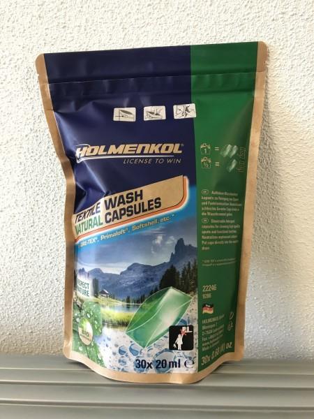 Holmenkol Textile Wash Natural Capsules 30x 20 ml (28,32€/1Ltr.) - Waschmittelkapseln